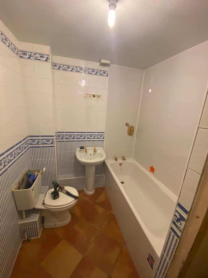 Marble tile bathroom, Menston