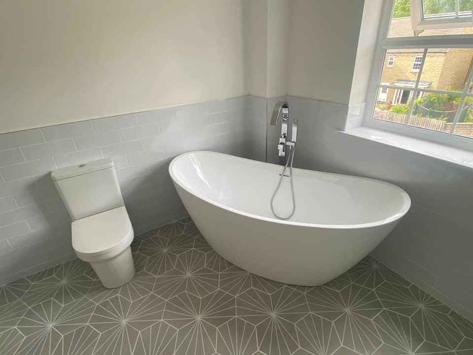 Grey palm springs bathroom tiles renovation Otley