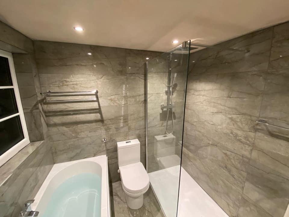 Peoria slate effect shower tray grey bathroom Otley
